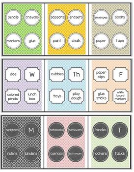Quatrefoil Classroom Organization Labels and Signs