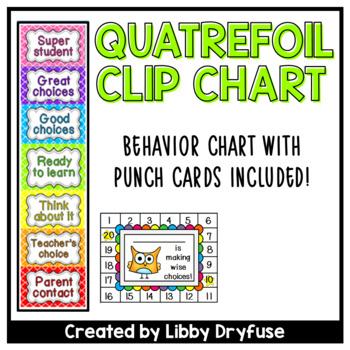 Clip It Behavior Chart and Punch Cards {Quatrefoil }
