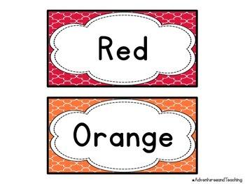 Quatrefoil Color Word Cards