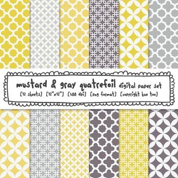Quatrefoil Digital Backgrounds, Mustard and Gray Quatrefoil Digital Paper