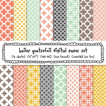 Quatrefoil Digital Paper, Pink, Blue, Turquoise, Mustard Yellow