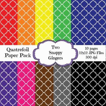 Quatrefoil Digital Paper - Rainbow Colors