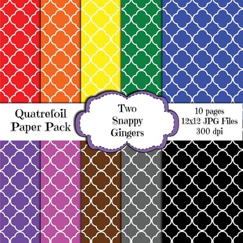 Quatrefoil Design Digital Paper - Rainbow Colors