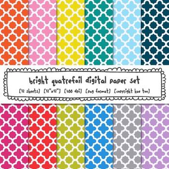 Quatrefoil Digital Paper Set, Rainbow Bright Colors Trellis Backgrounds