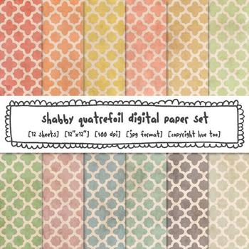 Quatrefoil Digital Paper Set, Shabby Pastel Colors Trellis Backgrounds