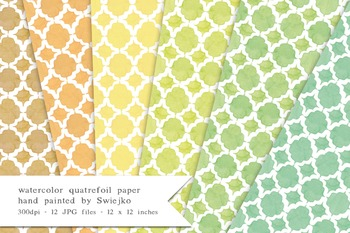 Quatrefoil Digital Paper, printable background, watercolor texture (4)