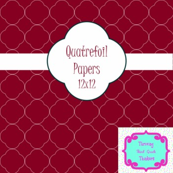 Quatrefoil Digital Papers- Jewel Tones, magenta, teal, gre