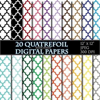 Quatrefoil Digital Papers Rainbow Papers Oriental Scrapbooking Printable