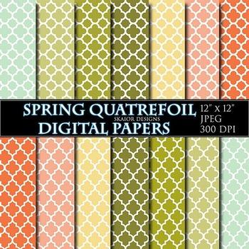 Quatrefoil Digital Papers Spring Scrapbooking Printable Mint Green Orange Yellow