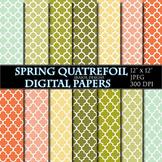 Quatrefoil Digital Papers Spring Scrapbooking Printable Mi