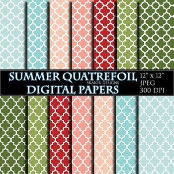 Quatrefoil Digital Papers Summer Scrapbooking Printable Red Blue Green Yellow