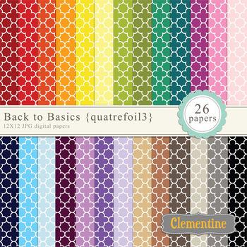 Quatrefoil Digital Papers - rainbow digital papers