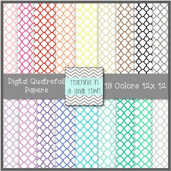 Quatrefoil Digital Scrapbook Paper {12x12} Commercial Use
