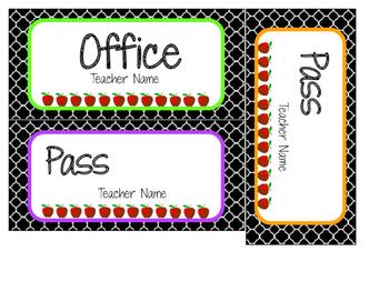 Quatrefoil Hall/ Bathroom Passes (Editable)