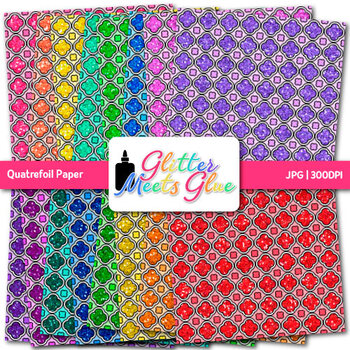 Quatrefoil Paper | Rainbow Scrapbook Backgrounds for Task Cards & Brag Tags