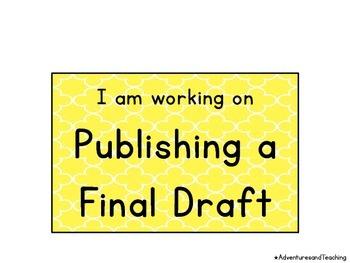 Quatrefoil Pencil Writing Process Clip Chart {Writer's Workshop}