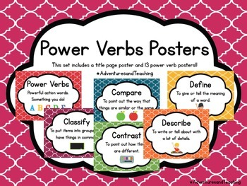 Quatrefoil Power Verbs Learning Target and Objective Posters