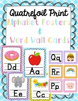 """""""Quatrefoil Print"""" Aphabet Posters & Word Wall Cards"""