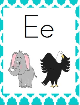 Quatrefoil Theme Alphabet Posters, Print Font
