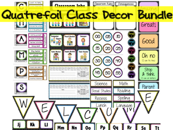 Quatrefoil and Neon Theme Classroom Decor Bundle- ALL Editable