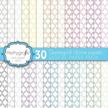 Quatrefoil clover digital paper, commercial use, scrapbook papers - PS571