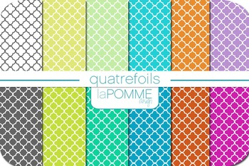 Quatrefoils Geometric Patterned Digital Paper Pack