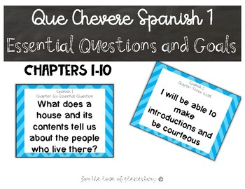 Que Chevere Spanish I Essential Questions and Goals
