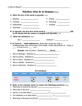 Que Dia es Hoy? (Days of the Week) Worksheet and Practice