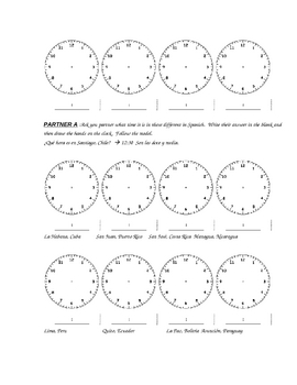 Que hora es?  Notes, practice and partner activity for telling time