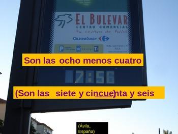 ¿Qué Hora Es?  PowerPoint con fotos de España!