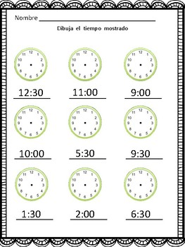 Que Hora Es? (Telling Time In Spanish to the Hour and Half Hour)