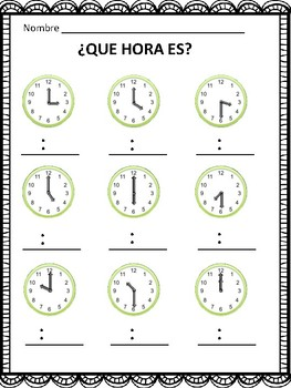 Que Hora Es? Telling Time in Spanish to the Hour and Half Hour