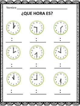 Que Hora Es? Telling Time in Spanish to the Hour and Half Hour (FREE)