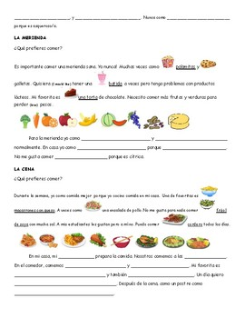 Que comes generalmente- What do you eat generally paragraph fill in