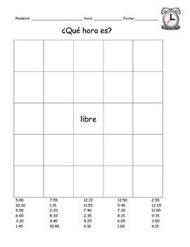 ¿Qué hora es?  Telling Time Bingo in Spanish