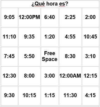 Printables Que Hora Es Worksheet que hora es time la bingo spanish 1 by bmspanish teachers 1