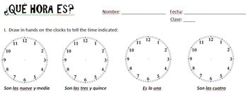 Que hora es practice or Quiz  Spanish 1
