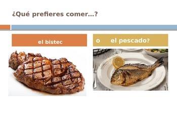 Que prefieres comer?  (Realidades 1 3B) Vocabulary input activity presentation