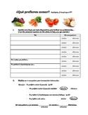 Que prefieres comer?  (Realidades 1 3B) Worksheet