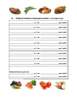 Que prefieres comer?  (Realidades 1 3B) Worksheet