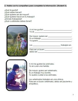 Que quieres ser de mayor? - Booklet, Worksheet and Card Game