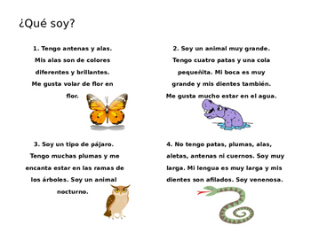 ¿Qué soy? animal descriptions