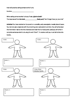 Que te duele- writing and speaking activity