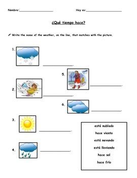 ¿Qué tiempo hace? matching worksheet