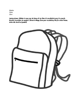 Que tienes en la mochila Spanish school supply activity