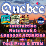 Quebec Canada Interactive Notebook Activities Consumable Workbook with Test Prep
