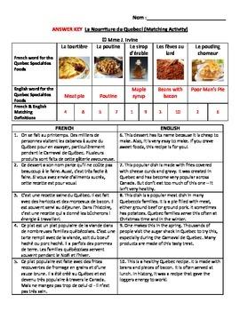 Quebec Cultural Foods Questions