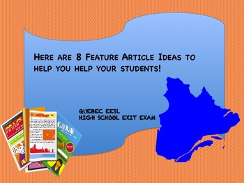 Quebec EESL Feature Article Activity Ideas