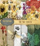 Queen Bee clipart clip art digital paper backgrounds digital scrapbooking kit