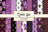 Queen Bee purple and gold seamless patterns digital paper